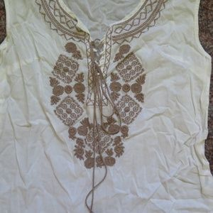 TRUCCO Tops - TRUCCO Embroidered Sleeveless Top, Semi-Sheer
